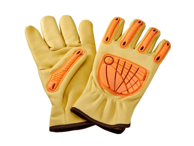 Protects only in the places where impact occurs so glove stays fully flexible.