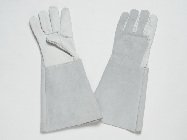 ALL LEATHER GLOVES, NATURAL GRAIN PALM & FOREFINGERS. NATURAL SPLIT BACK & CUFF