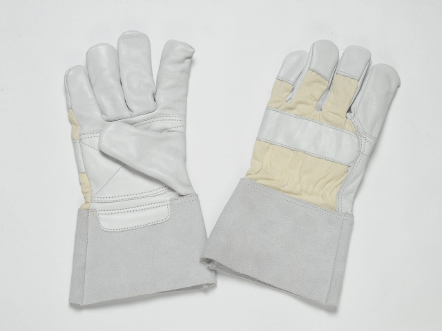 NATURAL GRAIN GLOVES, FLANNEL LINER IN PALM, CUFF OF THE SPLIT, REINFORCEMENT IN THE PALM AND FOREFINGER