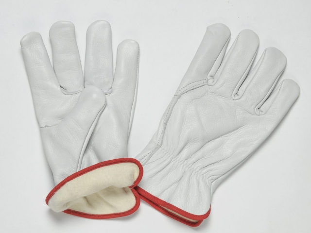 NATURAL GRAIN GLOVES, WITH ADJUSTABLE ELASTIC IN THE WRIST, FULL LINING INSIDE, COLOURED BINDING