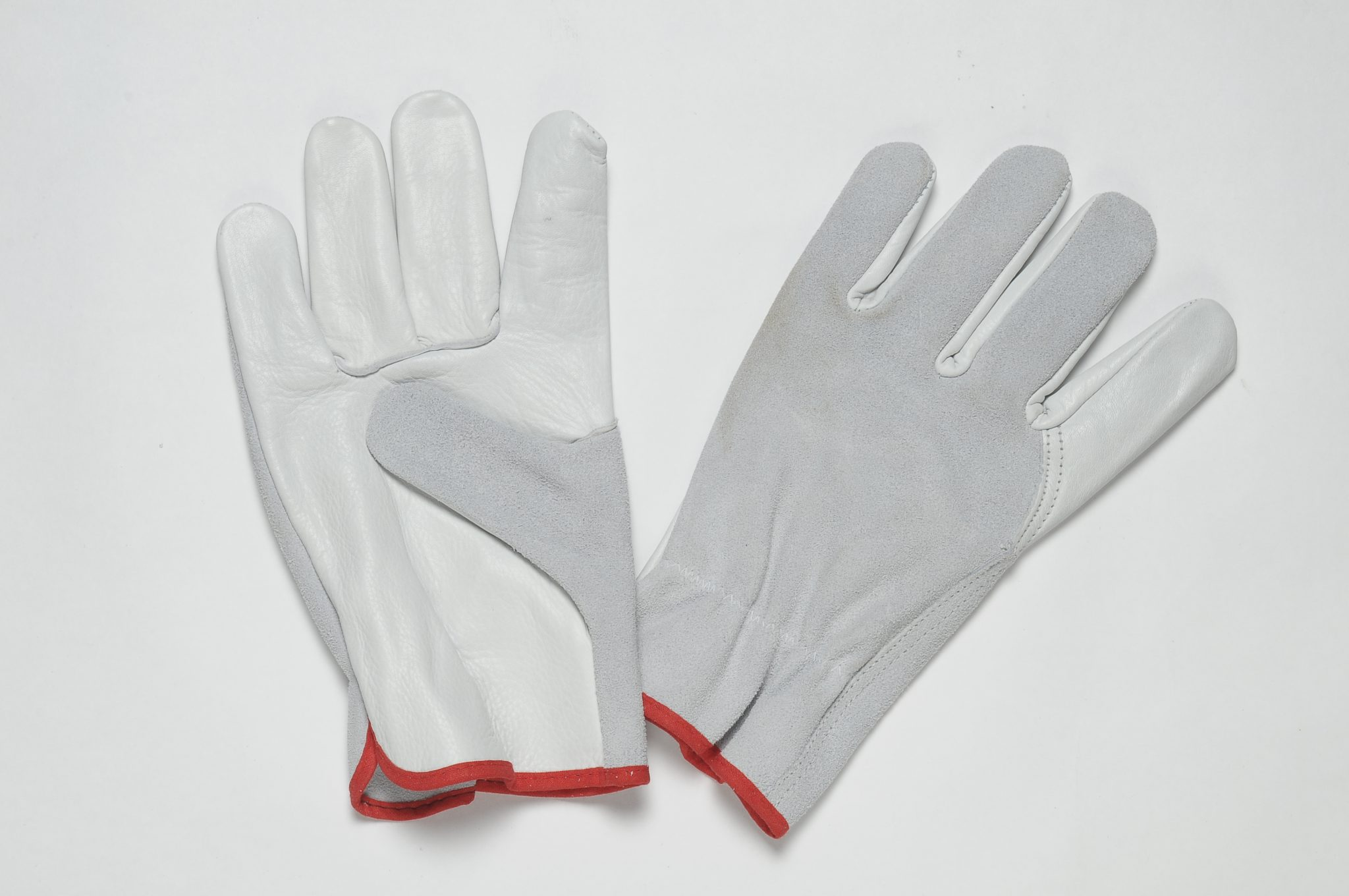 NATURAL LEATHER GLOVES WITH GRAIN ON PALM, THUMB AND FOREFINGER, NATURAL SPLIT BACK, ADJUSTABLE ELASTIC IN THE WRIST, COLOURED BINDING