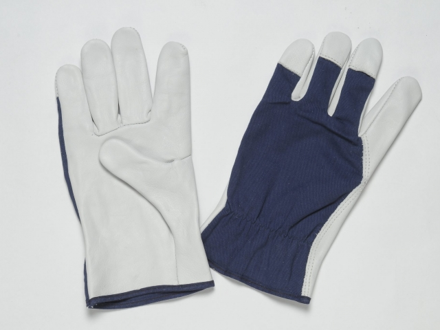 NATURAL LEATHER GLOVES WITH GRAIN O N PALM, THUMB AND FINGERTIPS, BACK WITH COTTON FABRIC, ADJUSTABLE ELASTIC IN THE WRIST, COLOURED BINDING